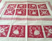 Vintage Tablecloth, Red Tablecloth, Startex Tablecloth, Vintage Startex, Vintage Flower Tablecloth, Amish Girl Tablecloth