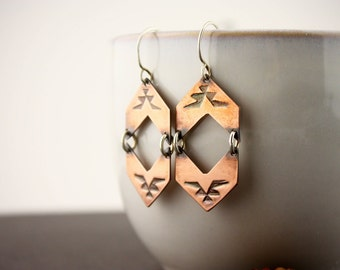 Native American stamped copper earrings