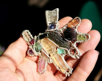 Emerald, Spinal,Libyan Desert Tektite, Red Sunstone, Moldavite, Heliodor, Aquamarine, Garnet, Pink and Red Tourmaline and Amethyst Pendant
