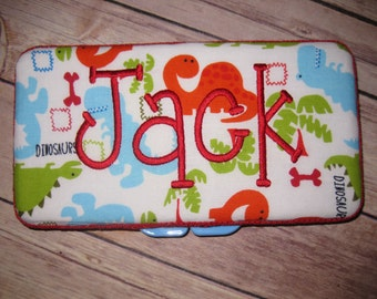 Personalized Travel Baby Wipe Case - Colorful Blue Green Orange Dinosaurs