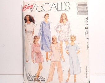 McCall's Nightwear Pattern, Sewing Pattern, Pajama Top and Pants, Nightshirt, Pajama Shorts, Easy McCall's Pattern, Large-XLarge Pattern