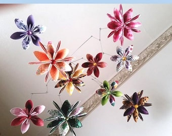 3D Origami mobile with flowers