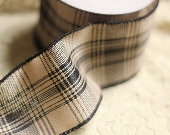 Wired Black and Beige Plaid Ribbon