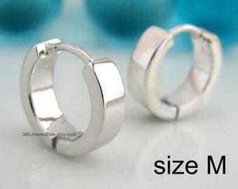 White Gold Rhodium Earrings Hoop Huggie - over 925 Sterling Silver - Mens Womens Earrings - Medium Size (E150SW)