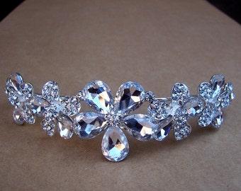 Vintage rhinestone bridal wedding tiara coronet crown headpiece headdress hair jewelry 1980s