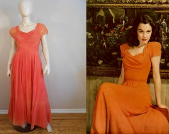 Ms Vivian Leigh Sighs - Vintage 1930s Coral Chiffon Silk Rayon Dress w/Gathered Bodice - 4/6