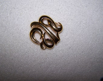 Gold Swirl Monet Brooch Designer Signed