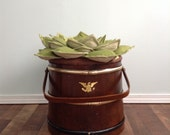 Succulent Seat Ottoman Magazine Storage Basketville Firkin RePurposed as Fictional Functional Planter Fiber Art Chair