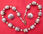Vintage Wedding Cake All Glass Beaded Necklace Clip On Earrings Set Demi