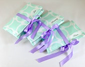 Mint Bridesmaid Gifts. Travel Jewelry Pouches. Monogrammed Jewelry Rolls. Mint Jewelry Roll Ups. Personalized Mint and White Bridesmaid Gift