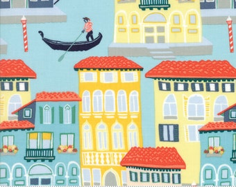 Venice Italy Print in Sage and Slate Blue from the Grand Canal Collection, by Kate Spain for Moda