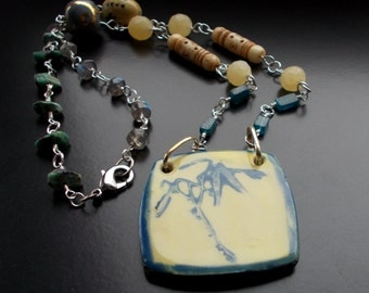 Bamboo Forest Necklace with Beautiful Handmade Ceramic Pendant, Sterling Silver Mounts, Labradorite, Turquoise, Apatite, Jade, Bone, glass