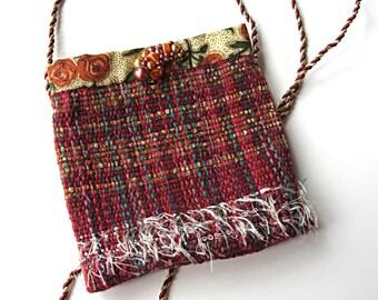 Gypsy purse, festival purse, cell phone purse, red woven purse, small purse, cell phone pouch, cell phone holder, boho purse, red purse