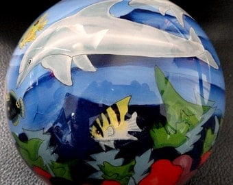Vintage Dolphin and Tropical Fish Ornament, Ne Qwa Art Glass, Reverse Hand Painted, Signed