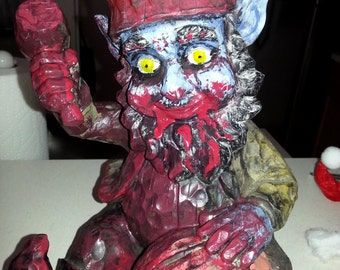 Large Gruesome Bloody Zombie Gnome Cracking Open a Brain Figure Figurine Statue Sculpture Halloween