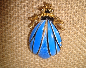 1950s 1960s Large Blue Winged Bug Pin.
