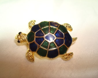 1980s emerald Green and Cobalt Blue Enameled  Turtle Pin.