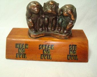 1970 San Antonio Texas Hear No Evil  Speak No Evil See No Evil The Three Moneys Souvenir .
