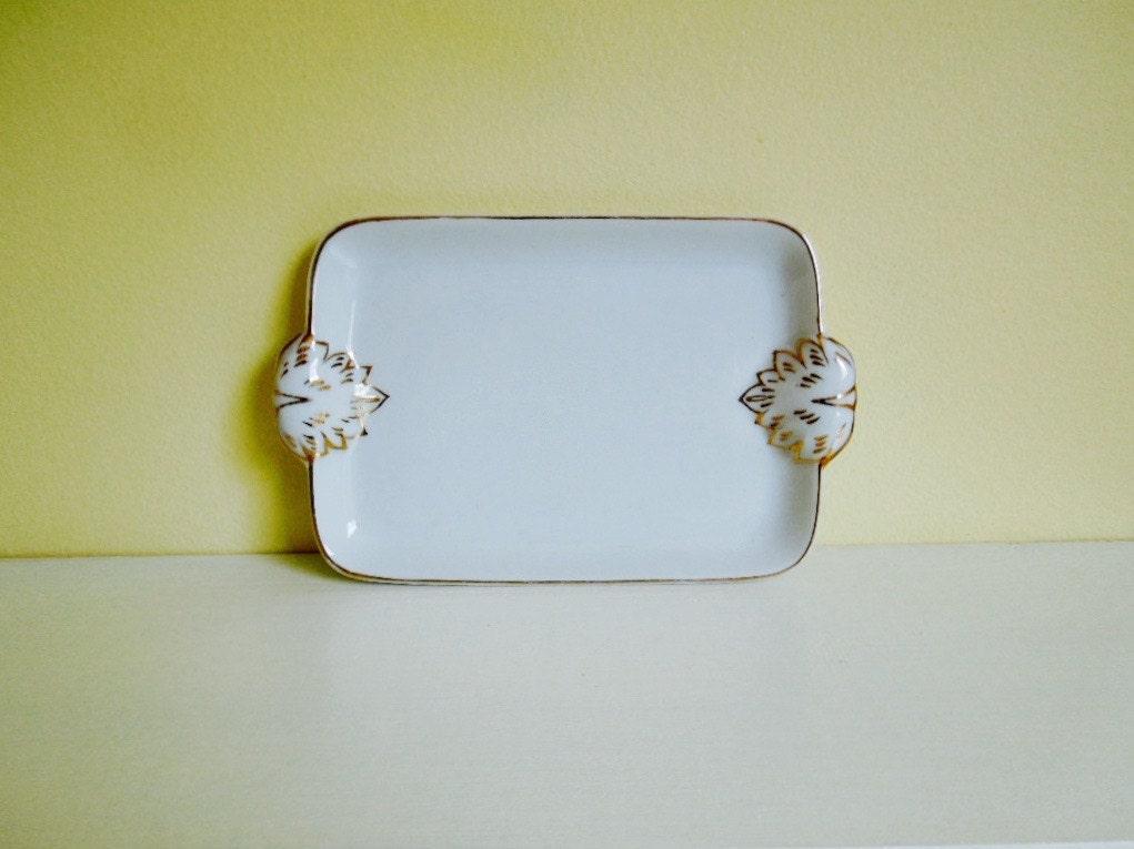 Vintage porcelain dish vanity tray white gold hand for White ceramic bathroom tray
