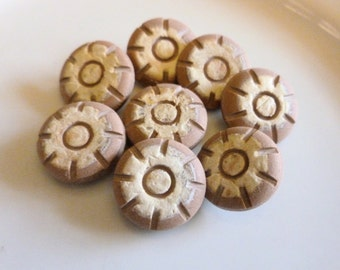 Vintage Terracotta style Buttons, Rustic, distressed, Compound, Made in France, 1970, Buttons with shank, 8 in lot, Terracotta and Beige