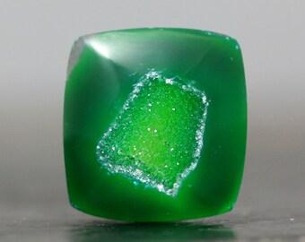 Green Square Quartz Crystals Drusy Stone Cabochon, Quartz - Bezel Edge Pendant Necklace Healing Stone Wire Wrap, Setting Gems (11676)