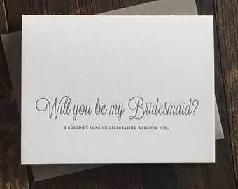 Letterpress Be My Bridesmaid Cards