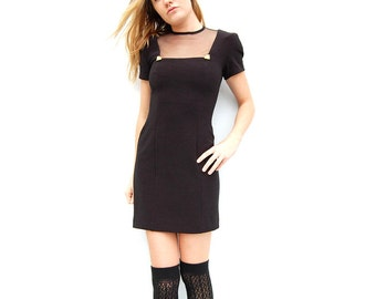 Black body con minidress with sheer neckline and gold embellishment 1990s 90s VINTAGE