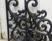 Pair Two Brackets cast iron Black decorative Shelf Furniture wall supplies French Country Ornate