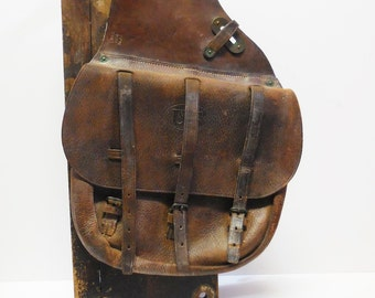 Antique saddle bags US Cavalry WWI horse equestrian military 1918 Long brown leather Rustic