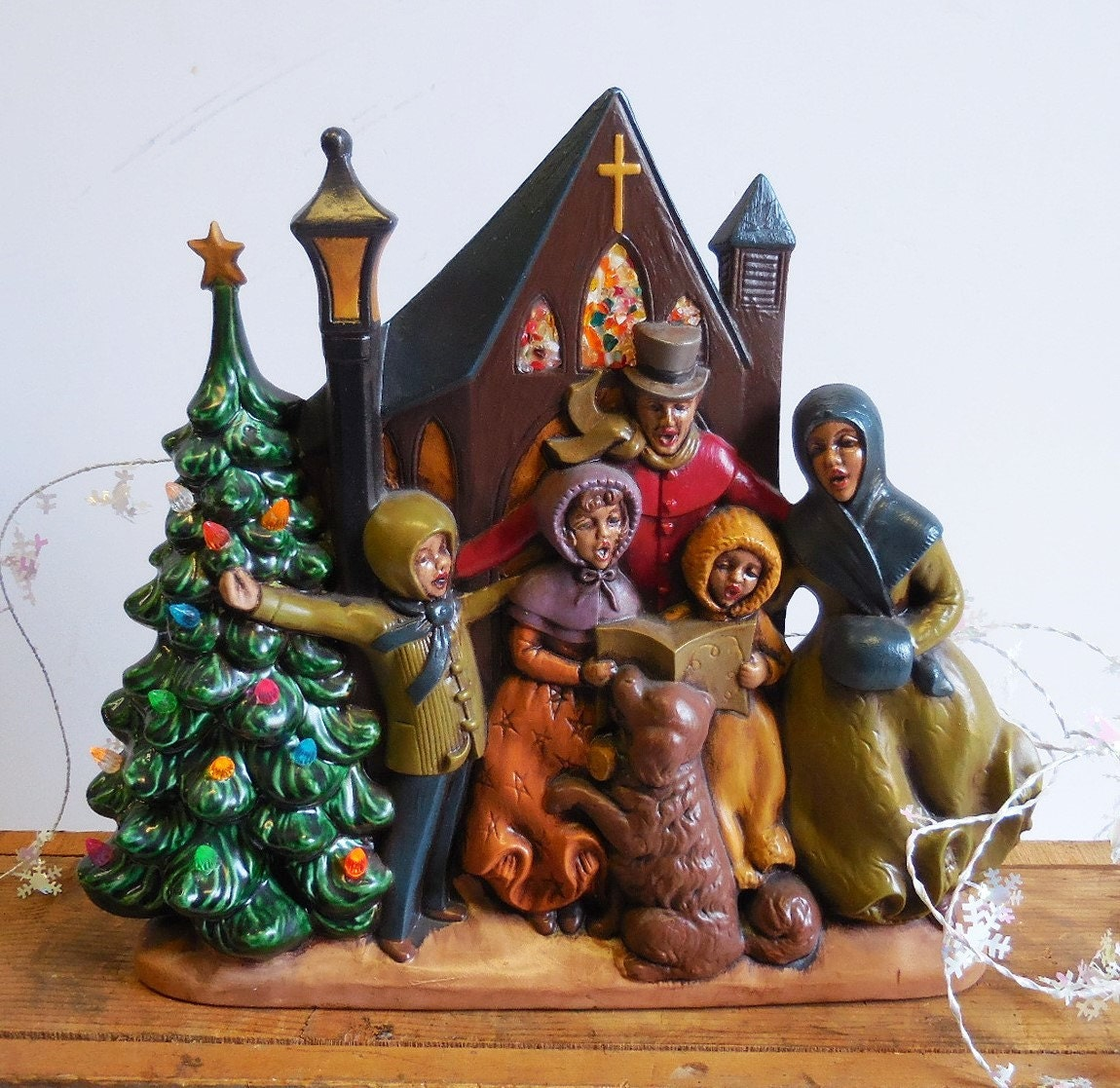 Singing Carolers Candleholders Figurines Vintage By: Vintage Ceramic Christmas Tree Atlantic Mold Light Up Carolers