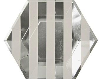 """Silver Metallic Stripe Plate 9X9""""-pkg8"""