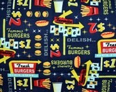 Diners and Drive-ins hamburger, hot dog, french fries Flannel pants pajama dorm lounge made to order your choice size XS - 2X