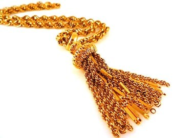 Monet Necklace Gold Toned with Tassel and Chunky Twisted Chain