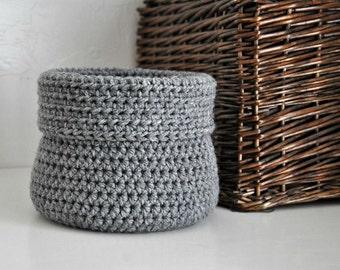 Grey Basket Catchall Storage Bin Modern Decor Contemporary Design Custom Colors