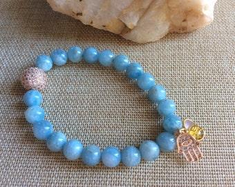 "Aquamarine genuine stone 8mm round beaded charm bracelet , 7 "" stretc, Hamsa, Rose Quartz, topaz charms"