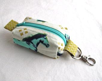 Boxy Little Pouch Key Chain, Lobster Clasp - Aqua Mustangs