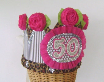 50th Birthday Party Crown, 50th birthday party Hat- Adult Birthday hat, over the hill hat