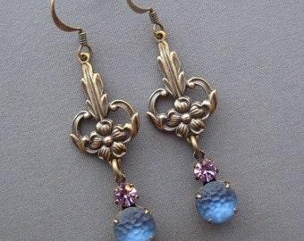 Art Nouveau Earrings - Vintage Rhinestone Earrings - Blue Earrings - Art Nouveau Jewelry - Old Hollywood - Romantic Earrings - Romantic Gift