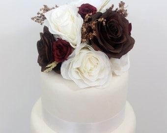 Wedding Cake Topper - Cream, Brown, Burgundy Rose, Seasonal Accents, Fall or Winter Silk Flower Cake Topper, Wedding Cake Flowers