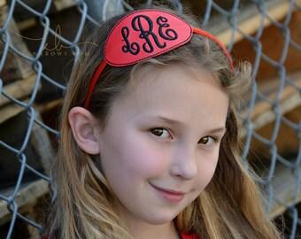 Monogrammed Headband, Red & Black, Child Belt, Monogram Initials Buckle, Birthday Gift, School Belt, Toddler, Tween, Teen
