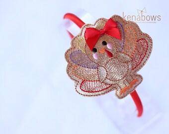 Turkey Headband, Glitter, Thanksgiving, Fall, Birthday Headband, Glitter Slide Hair Band, Girly Turkey