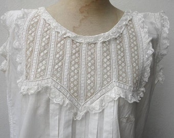 Gorgeous antique early Victorian Embroidery Gown Dress