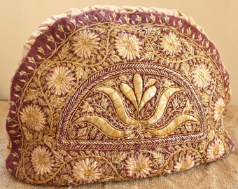 Antique Tea Cozy English Wirework-Beautiful Embroidered Gold Threads