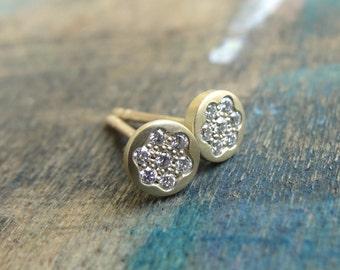 Diamond Pave Earrings - Diamond Earrings  - Diamond Pave Studs - Diamond Posts - Gold Studs - Gold Stud Earrings