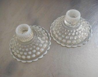 Vintage Candlesticks Hobnail Candlesticks Moonstone Glass Candlesticks Pair of Fenton Candlesticks