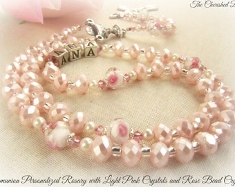 Communion Personalized Light Pink Crystal Rosary with Swarovski Crystals, Pearls and Crystal Rose Beads