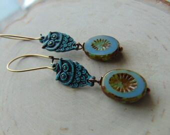verdigris Brass owl Earrings