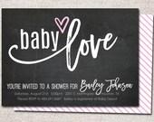 Baby Shower Invitation, Printable Baby Shower Invitation, Modern Baby Shower Invitation, Girl, Boy, Shower Invite (Baby Love Chalkboard)
