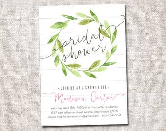 Bridal Shower Invitation, Bridal Shower Invite, Modern bridal shower invitation, bridal shower, PRINTABLE  (green wreath)
