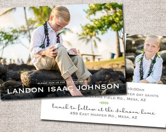 Boy LDS Baptism invitation, baptism invite, girl baptism invitation, photo baptism invitation: PRINTABLE  (Landon baptism invite )